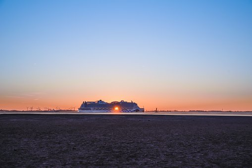 Sunset, Waters, Dawn, Sea, Sky, Ship, Aida, North Sea