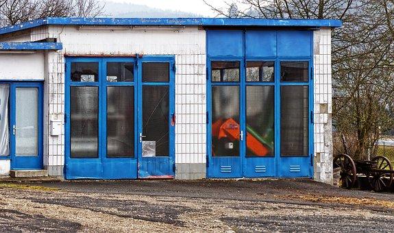 Old Gas Station, Garage, Goal, Old, Facade, Weathered