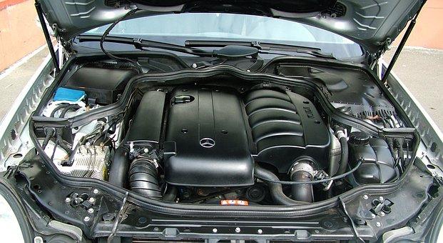 Auto, Engine Compartment, Mercedes, Motor