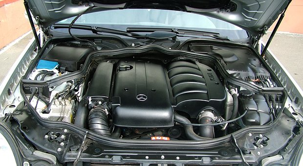 Auto, Engine Compartment, Mercedes, Motor