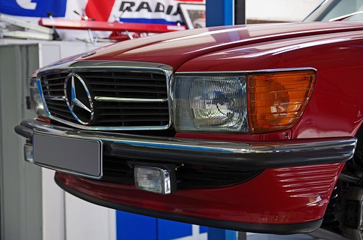 Auto, Mercedes, Grille, Spotlight, Transport System