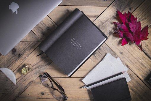 Wood, Desktop, Paper, Leaves, Glasses, Book, Tabletop