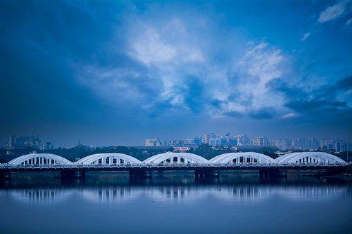 Reflection, Water, Lake, Panoramic, Nature, Sky, Bridge