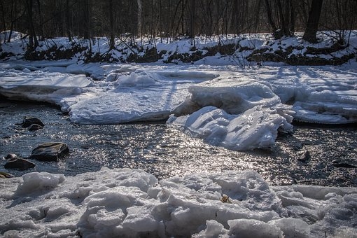 Ice Floes, River, River Basin, River Bank