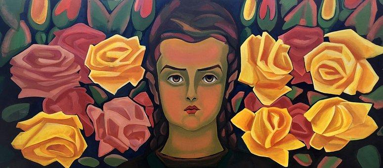 Picture, Roses, Face, Art, Eyes, Woman, Portrait