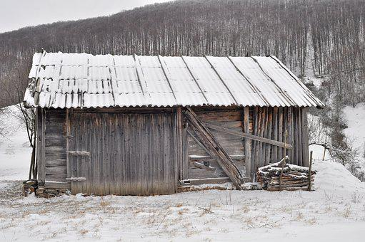 Snow, Hut, Barn, Wood, Winter