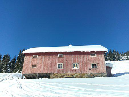 Snow, Winter, House, Barn, Farm, Wooden, Old, Rural