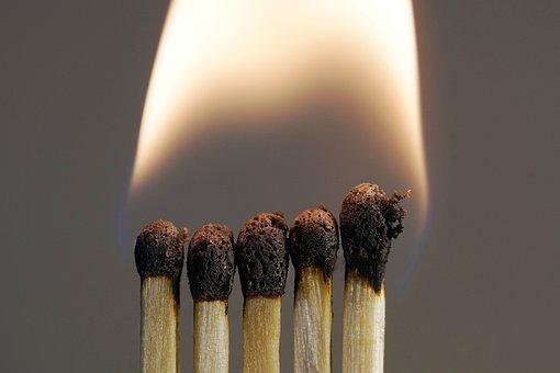 Flare-up, Smoke, Match, Burn, Brand, Sticks, Fire