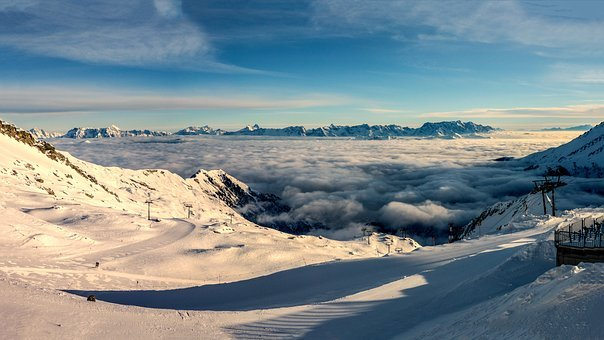Panorama, Morning, About, The, Clouds, Winter, Alpine