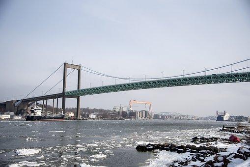 Bro, Water, Transport, Suspension Bridge, City