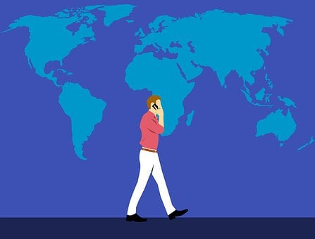 World Map, Roaming, International, Man, Phone