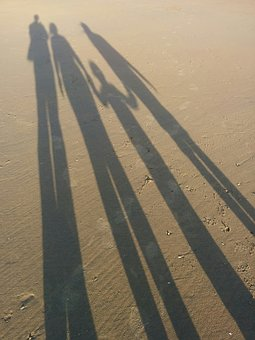 Sand, Beach, Shadow, Sunshine, Family
