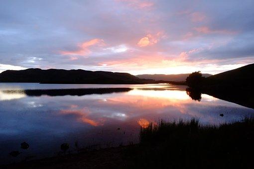 Sunset, Dawn, Water, Dusk, Outdoors, Loch, Scotland