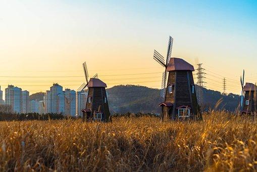 Farm, Windmill, Outdoors, Heaven, Scenery, Glow, Reed