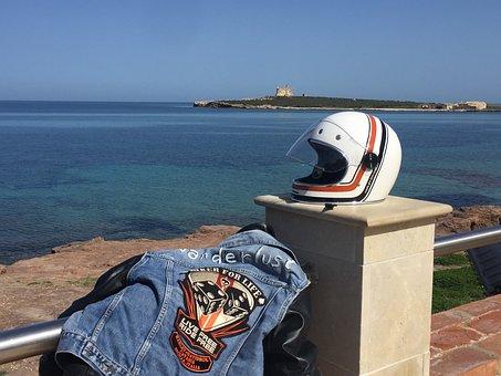 Sea, Waters, Beach, Travel, Costa, Helmet, Jeans