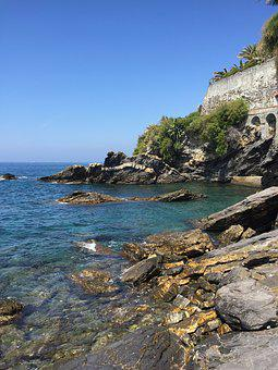 Liguria, Sea, Italy, Genoa, Summer, Rocks, Water
