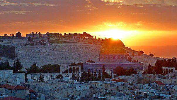 Panoramic, Sunrise, Jerusalem, Holy Land, Mosque