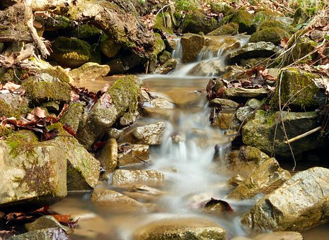 Nature, Monolithic Part Of The Waters, River, Waterfall