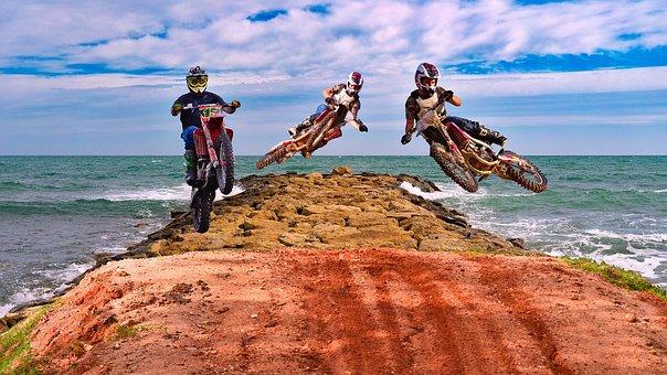 Motocross, Dirtbike's, Motorcycles, Travel, Sky, Sea