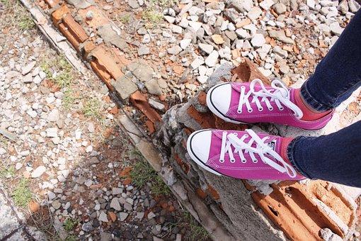 Outdoors, Nature, Shoe, Foot, Wood, Converse, Fashion