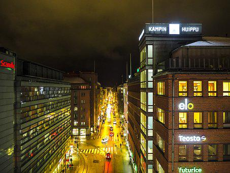 Helsinki, City, Night, Finland, Europe, Travel, Finnish