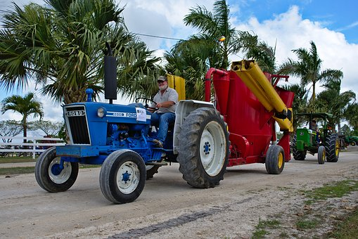 Tractor, Trailer, Farm Equipment, Rural, Old, Man