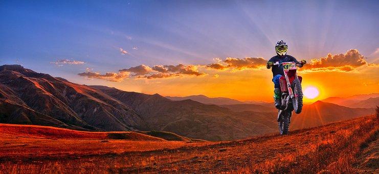 Motocross, Ride, Landscape, Panoramic, Sunset, Mountain