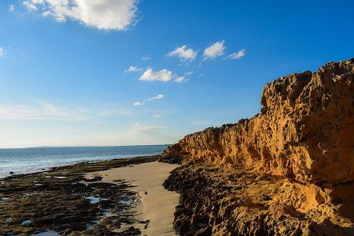 Beach, Sea, Water, Seashore, Nature, Sky, Clouds, Cliff