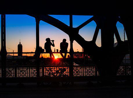 Silhouette, Human, Travel, Sunset, Sky, Munich