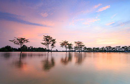 Water, Sunset, Nature, Reflection, Fields, Viet Nam