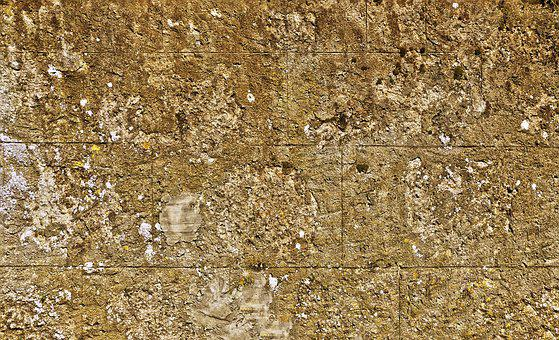 Wall, Concrete Blocks, Plaster, Old, Weathered, Cracked