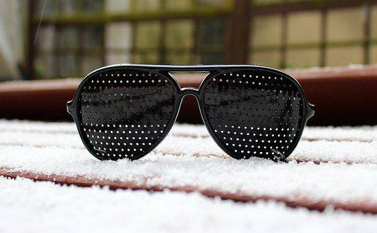 Glasses, Snow, Winter, No One, Sight, The Sun