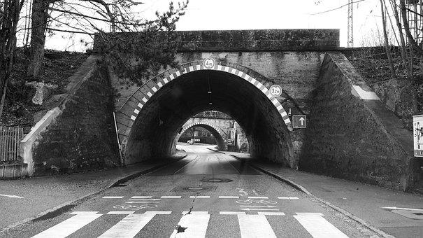 Road, Tunnel, Dark, Traffic, Asphalt, Shadow