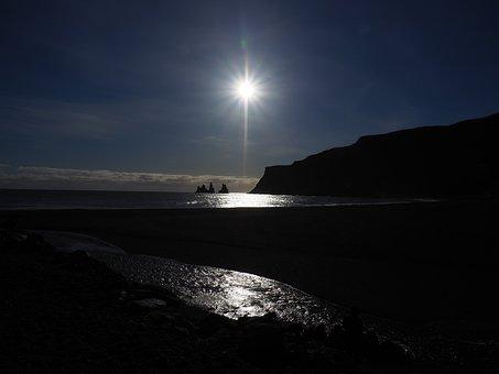 Beach, Vik, Iceland, Black Rock Needles, Rock Needles
