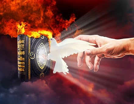 People, Bible, Dove, Clouds, Fire, Hand, Flame, Heat