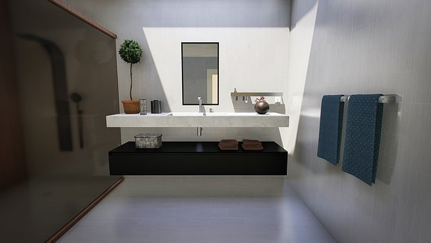 Bathroom, Modern, Design, Lighting, Interior, Home