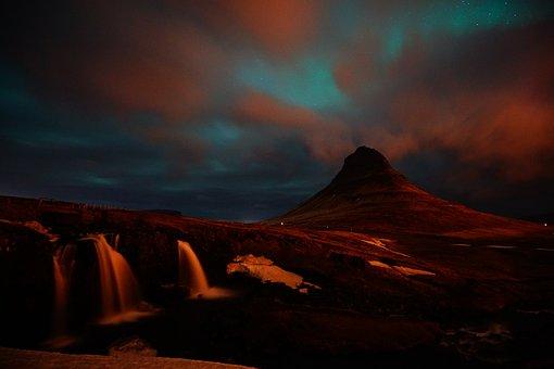 Kirkjufell, Iceland, Waterfall, Mountain, At Night