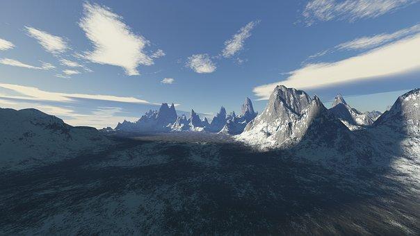 Mountain, Snow, Panoramic, Nature, Landscape, Virtual