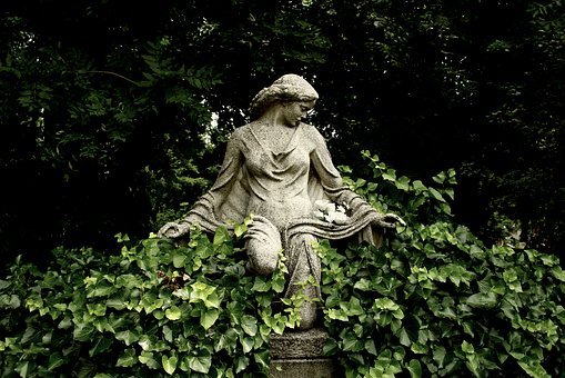 Statue, Foliage, Park, Cemetery, Angel, Art