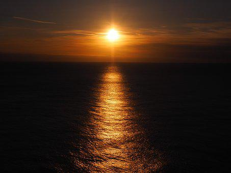Sunset, Sea, Sunlight, Abendstimmung, Idyll, Iceland