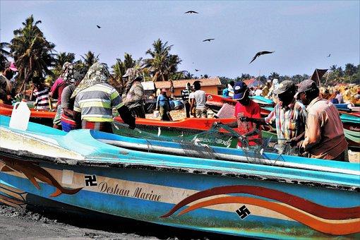 Beach, A Fishing Village, Symbol, Sfastyka, Indian