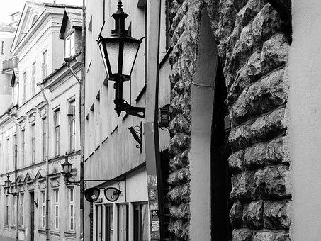 No One, Architecture, Street, Old, Black And White