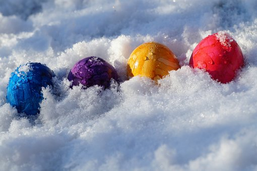 Easter, Eggs, Color, The Tradition Of, In The Snow