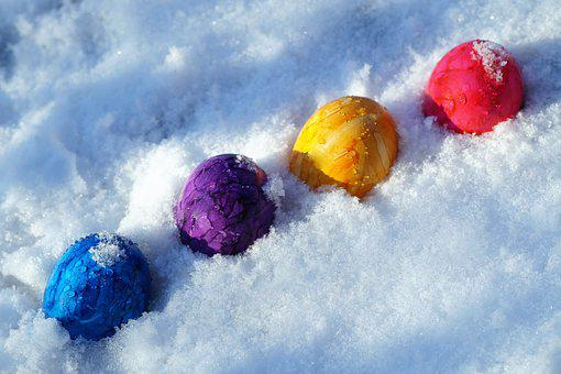 Easter, Eggs, Color, Holidays, In The Snow