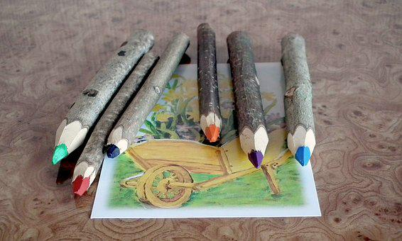 Wooden Pencils, Natural, Colorful, Painting, Figure