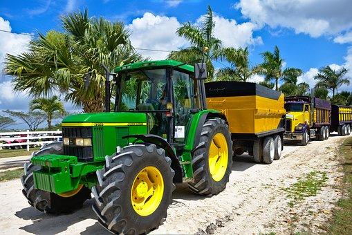 Tractor, Trailer, Haul, Grip, Wheels, Tread, Industry