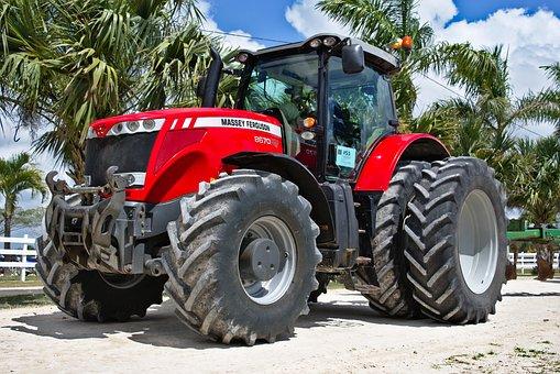 Low Angle, Tractor, Big, Heavy, Vehicle, Equipment