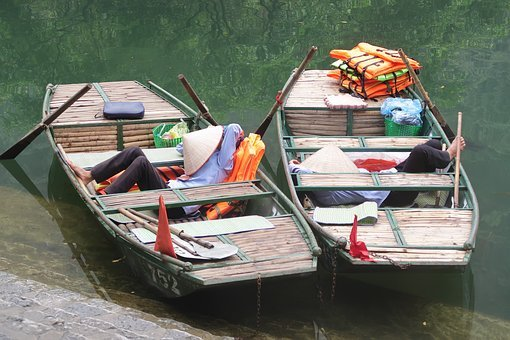 Hoi An, Vietnam, Rowing Boat, Men Sleeping