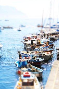 Waters, Boot, Sea, Port, Pier, Tilt Shift, Amalfi