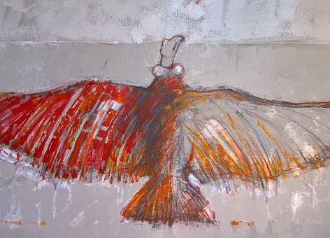 Asfer, Painting, Oil, Box, Red, Bird, Flight
